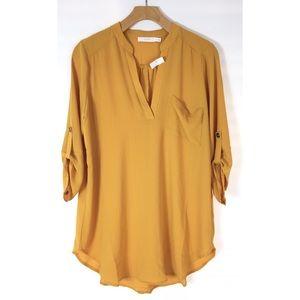NWT Lush Perfect Roll tab sleeve tunic top mustard